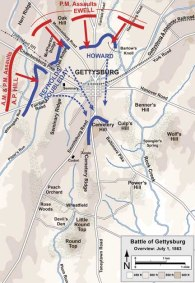 Day One: Confederates successful, but short of seizing key ground.